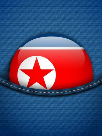 Vector - North Korea Flag Button in Jeans Pocket Vector