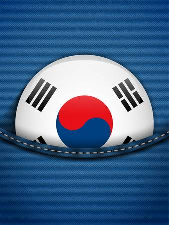 Vector - South Korea Flag Button in Jeans Pocket Stock Vector - 19350894
