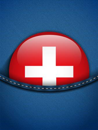 swiss insignia: Vector - Switzerland Flag Button in Jeans Pocket