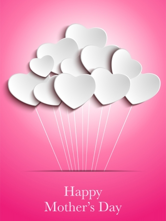 Vector - Happy Mother Day Heart Background Vector