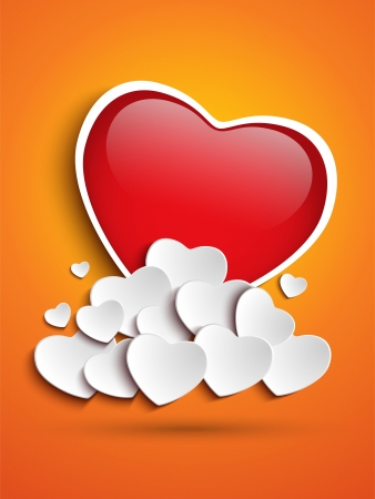 Vector - Mother Day Heart Clouds on Orange Background Vector