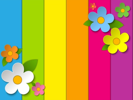 Vector - Beautiful Spring Flowers Rainbow Background