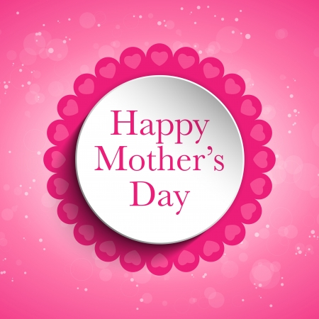 Vector - Happy Mother Day Heart Tag Background Vector