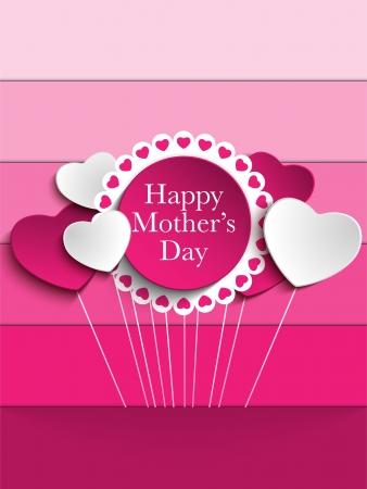 dzień matki: Happy Day Matka tle Serce Tag Ilustracja