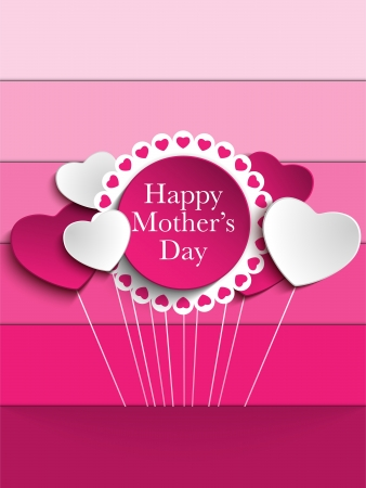 Happy Mother Day Heart Tag Background Vector