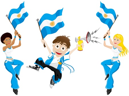 soccer stadium crowd: Vector - Argentina Sport Fan with Flag and Horn