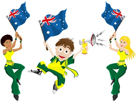 soccer fan: Vector - Australia Sport Fan with Flag and Horn