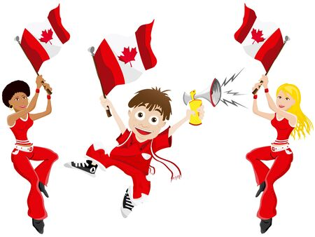 canadian flag: Vector - Canada Sport Fan with Flag and Horn Illustration