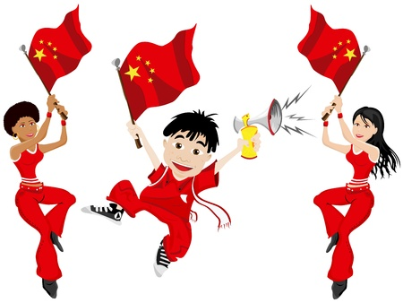 Vector - China Sport Fan with Flag and Horn Vector
