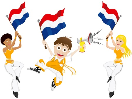 dutch girl: Vector - Netherlands Sport Fan with Flag and Horn Illustration