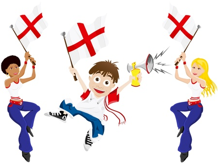 football fan: Vector - England Sport Fan with Flag and Horn