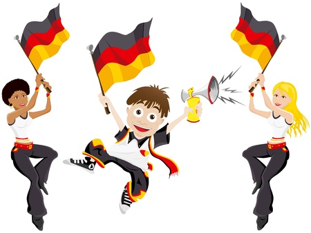 Vector - Germany Sport Fan with Flag and Horn Vector