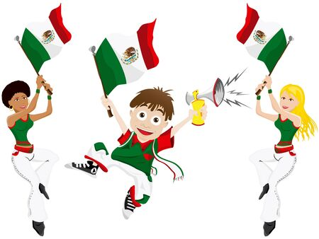 soccer fan: Vector - Mexico Sport Fan with Flag and Horn Illustration