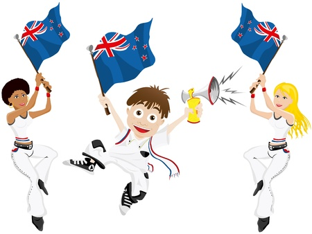 soccer fan: Vector - New Zealand Sport Fan with Flag and Horn Illustration