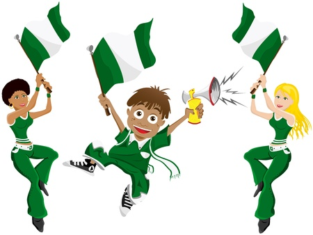 supporter: Vector - Nigeria Sport Fan with Flag and Horn
