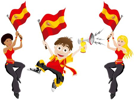 supporter: Vector - Spain Sport Fan with Flag and Horn