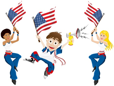 soccer fan: Vector - USA Sport Fan with Flag and Horn