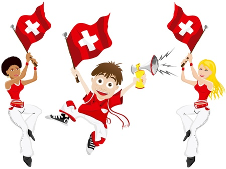 football fan: Vector - Switzerland Sport Fan with Flag and Horn