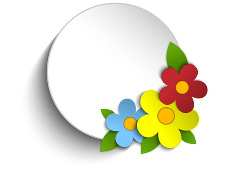 Vector - Beautiful Spring Flowers Circle Button Background  Vector