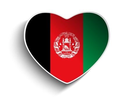 afghanistan flag: Vector - Afghanistan Flag Heart Paper Sticker