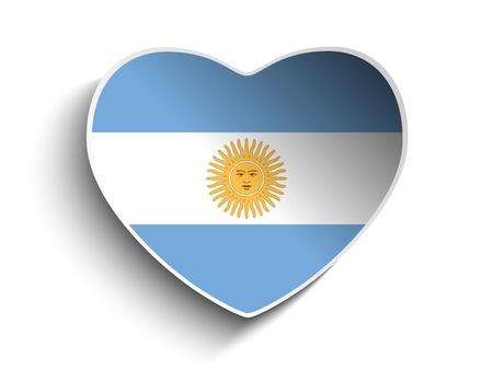 bandera argentina: Vector - corazón de la bandera Argentina Etiqueta de papel