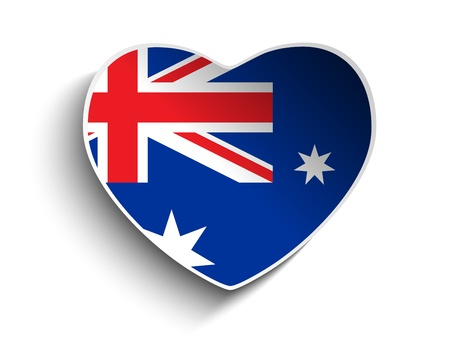Vector - Australia Flag Heart Paper Sticker Stock Vector - 19439753