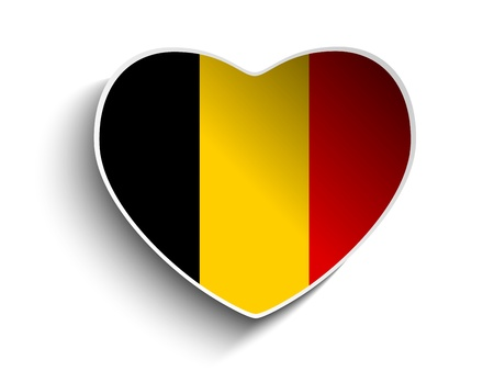 belgium flag: Vector - Belgium Flag Heart Paper Sticker Illustration