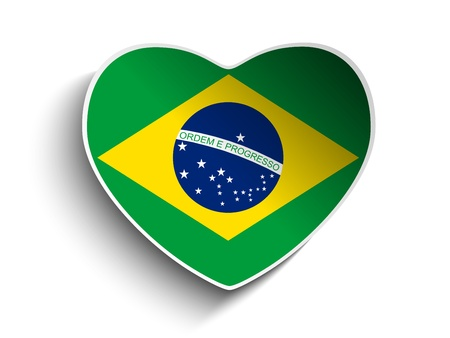 Vector - Brazil Flag Heart Paper Sticker Vector