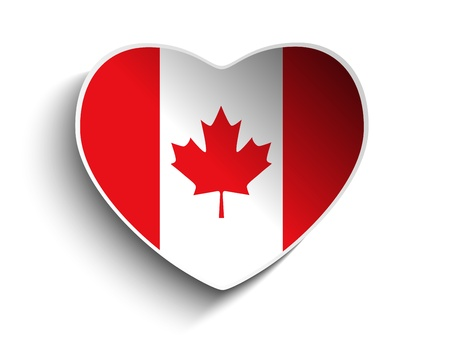 Vector - Canada Flag Heart Paper Sticker Vector