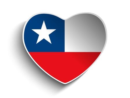 chilean flag: Vector - Chile Flag Heart Paper Sticker Illustration