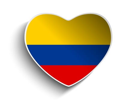 Vector - Colombia Flag Heart Paper Sticker Vector