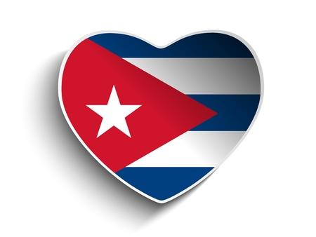 cuban: Vector - Cuba Flag Heart Paper Sticker Illustration