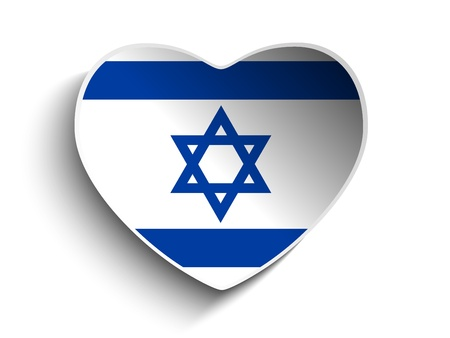 Vector - Israel Flag Heart Paper Sticker Vector