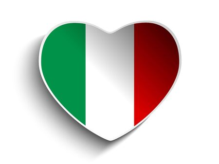 Vector - Italy Flag Heart Paper Sticker Vector