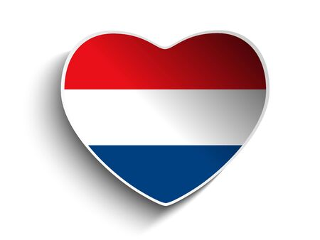 Vector - Netherlands Flag Heart Paper Sticker Vector