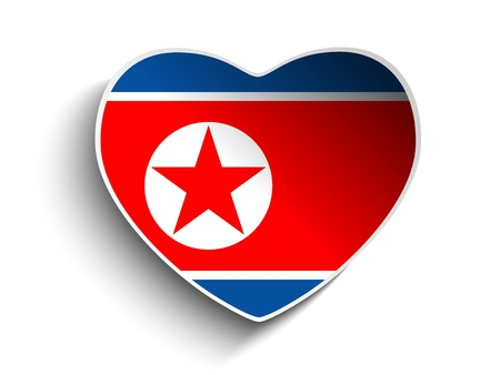 Vector - North Korea Flag Heart Paper Sticker Vector