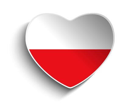 Vector - Poland Flag Heart Paper Sticker Vector