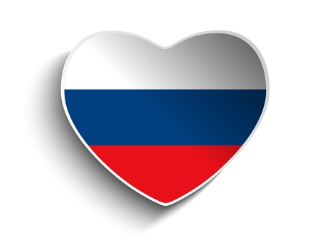 Vector - Russia Flag Heart Paper Sticker Vector