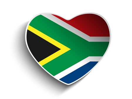 Vector - South Africa Flag Heart Paper Sticker Vector