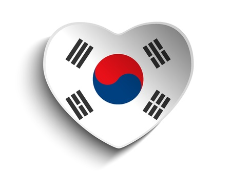 Vector - South Korea Flag Heart Paper Sticker Vector