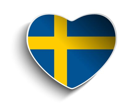 Vector - Sweden Flag Heart Paper Sticker Vector