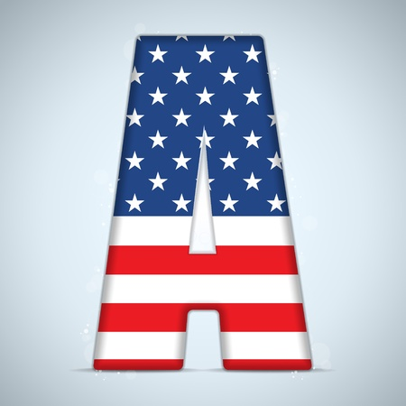 letter case: Vector - USA Independence Day Alphabet Letters