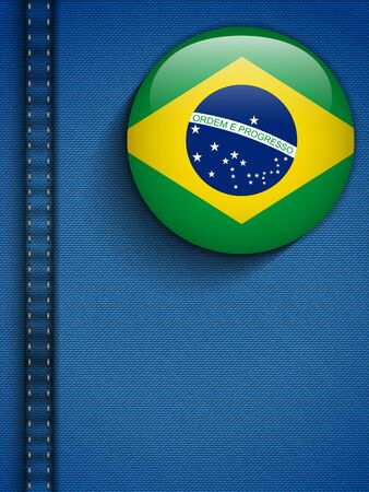 Vector - Brazil Flag Button in Jeans Pocket Vector