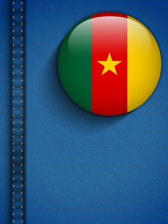 Vector - Cameroon Flag Button in Jeans Pocket Vector