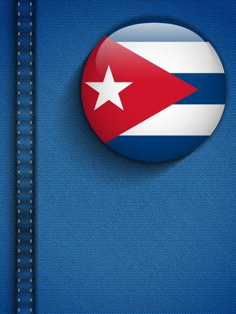 kuba flagge: Vector - Cuba Flag Button in Jeans-Tasche