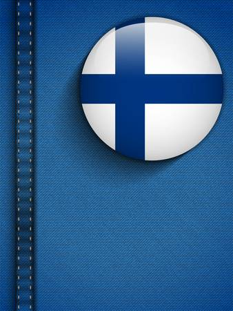 finland: Vector - Finland Flag Button in Jeans Pocket