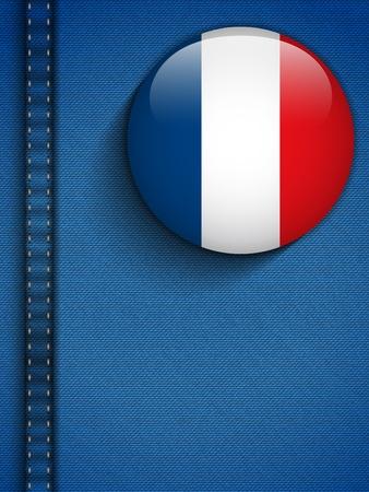 Vector - France Flag Button in Jeans Pocket Vector