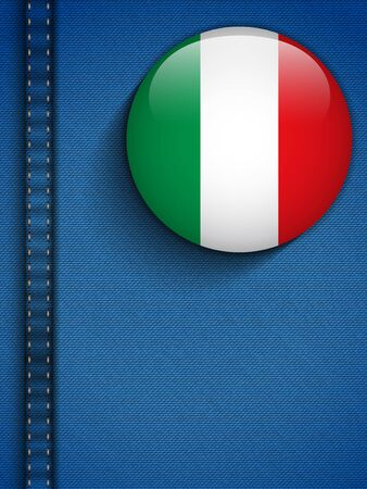Vector - Italy Flag Button in Jeans Pocket Vector