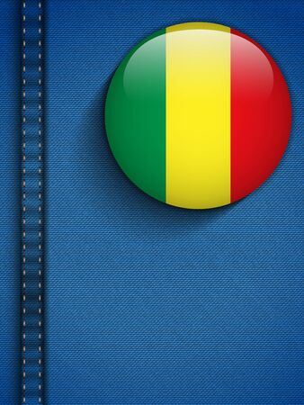 Vector - Mali Flag Button in Jeans Pocket Vector
