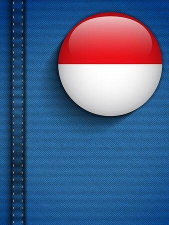 Vector - Monaco Flag Button in Jeans Pocket Vector